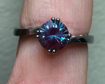 Elegance Collection Alexandrite Engagement Ring 14K Black Gold Wedding Ring Unique Engagement Ring Statement Ring Proposal Ring Gems - V1093
