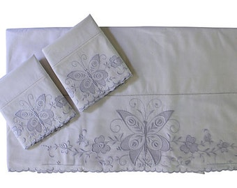 Vintage Sheet Set - Italian Butterfly Sheet & 2 Pillow Cases - Full Queen - Unused - NOS - Italy