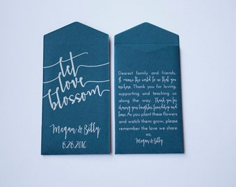 Navy Let Love Blossom Custom Seed Packet Wedding Favors - Rustic Wedding Favor for Guests - Dark Blue Seed Packet - Many Colors Available
