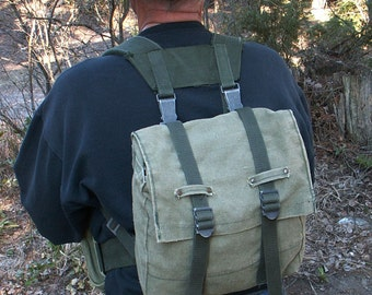 Military Canvas Backpack Side Pouches Harness System
