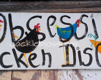 """5.5"""" X 21"""" #101 Chicken Art Sign Whimsical Chickens Original Painting"""