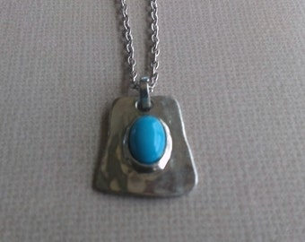 Silver and Turquoise Pendant on 25 inch chain