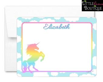 Rainbow Unicorn Notecards, Unicorn Stationery, Flat notecards, Rainbow Unicorn, Thank you Notes, childrens stationary