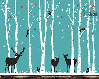 Removable Nursery Birch Tree Forest with Birds and Deer fawn doe buck and squirrels (9 trees) DC0128