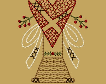 MACHINE EMBROIDERY-Valentines Heart Spool-4x4-Redwork-Instant Download