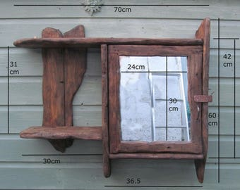 BATHROOM CABINET in recycled pine with mirror door and side shelf