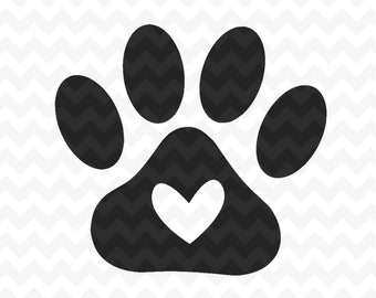 Paw Print SVG Cut Files, Paw print with heart Svg File and PNG Image, Pawprints, Dog Paw, Cat Paw, Cut File for Silhouette