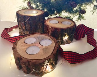 Rustic pine log candle holder