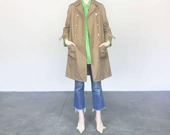 70s Latte Trench Coat (M)