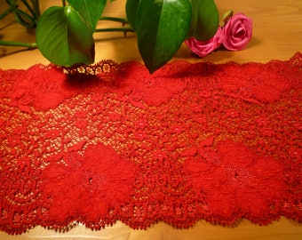 Red lace with beautiful flowers dark 14 cm wide