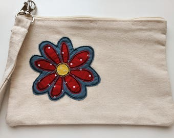 Applique Flower Canvas Wristlet