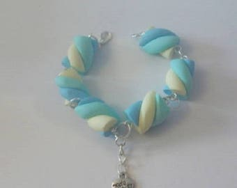 Bracelet blue yellow green Marshmallow candy