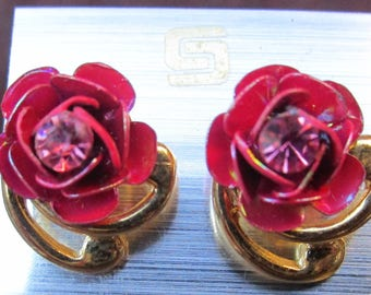 pair of golden earrings set Pink Pink and pink swarovski heart