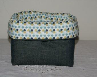 Fabric basket Organizer padded denim and blue and yellow hexagons