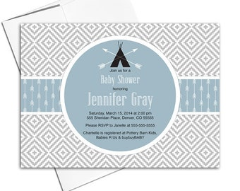 Boy baby shower invitation, blue and gray baby shower invites with arrows, teepee and aztec print - PRINTED - WLP00702