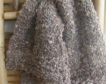 Handspun Scarf Merino-Cross Wool Soft Large 72-inch x 6-inch Man Woman Hand Knit Art Yarn Bulky Unique  Natural Grayish-Brown Wool Light