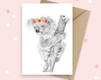 Koala Greeting Card, Australian Native, Animal Birthday Card, Australian Souvenir Card, Native Animal, Blank Card, Thank You Card