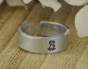 Dog Adjustable Ring- Hand Stamped Aluminum Ring -Any Size 4, 5, 6, 7, 8, 9, 10, 11, 12 half and quarter sizes available