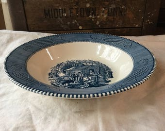 Royal China Serving  Bowl / Currier and Ives Blue and White Transferware Underglaze Print