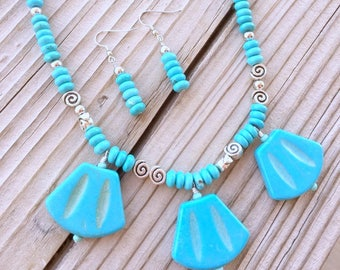 Turquoise Gemstone Necklace, Jewelry set, Gift for her, Healing Jewelry, Howlite necklace, Statement necklace, Turquoise Pendant