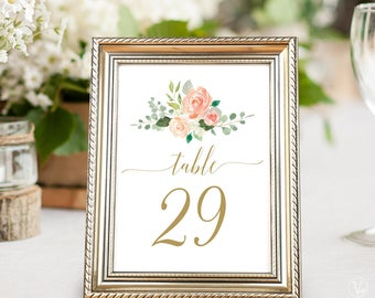 Printable Wedding Table Numbers 1–40, Peach Blush Floral Table Numbers, 5x7 and 4x6 sizes, Peach Gold