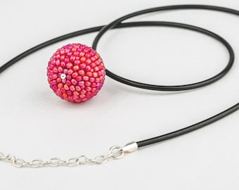 Forest Fruits Seed Beaded and Rubber/Sterling Silver Choker Necklace
