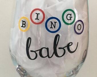 Bingo Babe Wine Glass - Bingo Beer Glass - Bingo Wine Glass - Perfect Bingo gift for the Bingo Lover