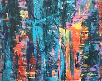 Colorful Abstract Large Original Fine Contemporary Art