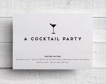 cocktail party invitations, bachelorette party invitations, bar menu, wedding, cocktail party, menu, template, retirement party invitations