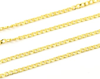 Gold Tone Chain, 5 M (3.6x2.35mm) Gold Tone Brass Soldered Curb Chain - Y010  ( Z024 )
