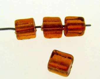 36 Vintage Glass Topaz 7x5mm. Rectangle Beads 7300a