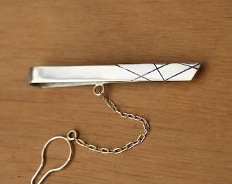 Modern Tie bar- sterling silver