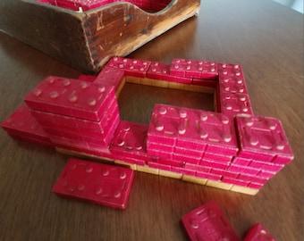 American Bricks Vintage Building Blocks, Antique Snap-Together Wooden Toys, Lego-Like Blocks