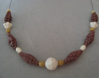 Ecru Brown corrugated cardboard and beads necklace