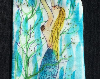 Handpainted Silk Eye Glass Case with Mermaid Design