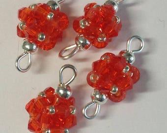 4 connectors 3mm orange glass bicones