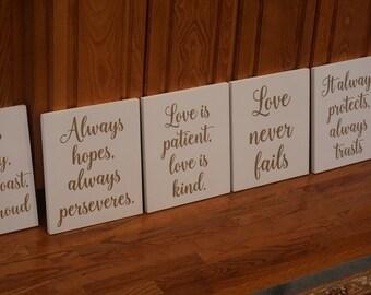 White Love Is Patient, Love is Kind Aisle Markers.  Love Never Fails Wedding Decor. 1 Corinthians 13 Wedding Aisle Signs. Wedding Aisle Sign