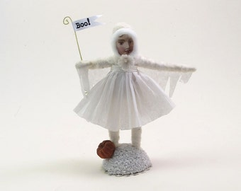 Spun Cotton Vintage Style Halloween Ghost Girl Figure (MADE TO ORDER)