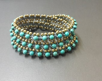 Turquoise Gray  Wax cord Brass Wrap  Bracelet/Necklace