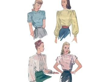 40s Puffy Sleeve Blouse Pattern Shirt pattern vintage 34-28-36 lace inserts Romantic Blouse pattern Katherine Hepburn Simplicity 1906