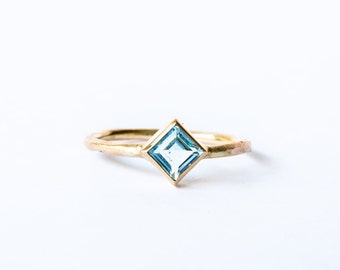 In stock Square Blue topaz women's 10k solid yellow gold rough ring, engagement ring