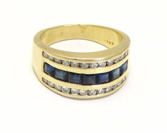 Vintage Ring - 14K Yellow Gold Blue Sapphire and Diamonds Ring - Size 6 1/4 - Wide Band - Weight 6.8 Grams # 324