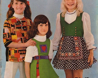 Enid Gilchrist's GIRLS GEAR Vintage Sewing Pattern Drafting Book 70s Peasant Dresses Shorts Jacket Shifts Skirts Size 5 to 12 years