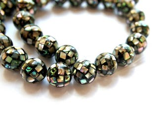 Beads, 2 beads with abalone shell pieces 10mm