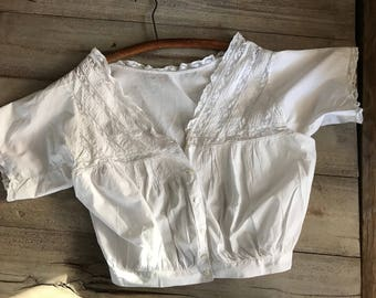 French White Cotton Blouse, Lace Trimmed, Short Sleeves
