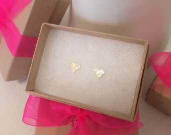 Tiny Heart Studs - Sterling Silver