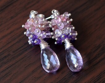 Pink Amethyst Earrings, Sterling Silver Ear Posts, AAA Stone, Spinel Gemstone Clusters, Lavender, Purple, Bridal Jewelry, Free Shipping