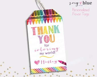 Art Party Printable Favor Tags - Crayon Birthday Thank You Tags - Colorful Painting Party Favors - Personalized Digital File