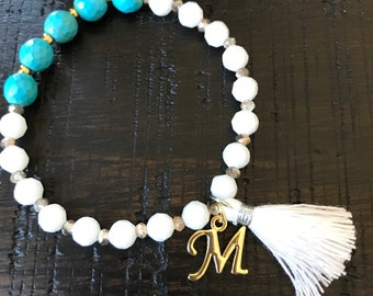 White glass and turquoise bracelet