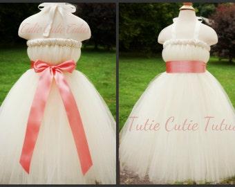 Elegant Ivory Tutu Dress with Wide Coral Sash NB-8